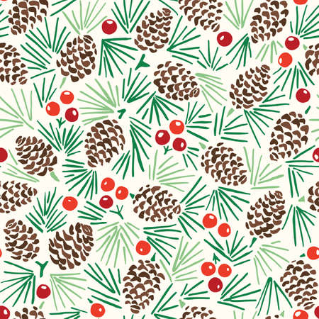 Hand Drawn Abstract Christmas Pin Cone, Red Berries, Fir Tree Foliage Horizontal Vector Seamless Pattern on Light Background. Modern Winter Linocut Holiday Print. Perfect for Invitations, Gift Paper