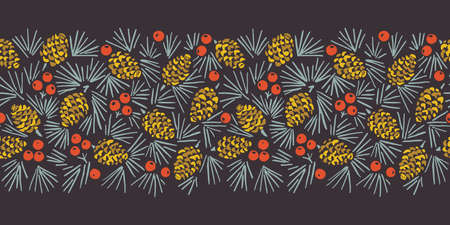 Hand Drawn Abstract Christmas Pin Cone, Red Berries, Fir Tree Foliage Horizontal Vector Seamless Pattern Border on Dark Background. Modern Winter Linocut Holiday Print for Invitations, Gift Paper