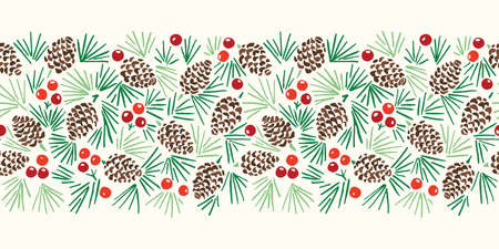 Hand Drawn Abstract Christmas Pin Cone, Red Berries, Fir Tree Foliage Horizontal Vector Seamless Pattern Border on Light Background. Modern Winter Linocut Holiday Print for Invitations, Gift Paper 일러스트