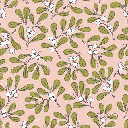 Pastel Hand Drawn Delicate Line Art Christmas Mistletoe Foliage Vector Seamless Pattern on Pink Background. Modern Detailed Red Berries Winter Holiday Print. for Invitations, Gift Paper, Stationery