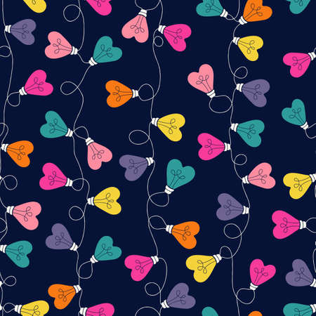 Multi-colored Valentines Day Holiday Intertwined Heart Shape String Lights Forming Vertical Stripes on Dark Background Vector Seamless Pattern. Rainbow Festive Love Background