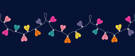 Multi-colored Valentines Day Holiday Heart Shape String Lights Isolated on Dark Background Vector Seamless Horizontal Border Pattern. Rainbow Love Decorative Element for Invitations, Banners