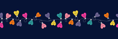 Multi-colored Valentines Day Holiday Intertwined Heart Shape String Lights on Dark Background Vector Seamless Horizontal Border Pattern. Rainbow Festive Love Background