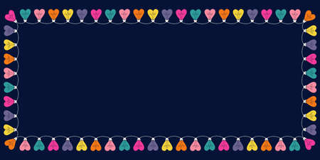 Bright Multi-colored Valentines Day Holiday Heart String Lights on Dark Background Rectangle Horizontal Frame. Square Rainbow Festive Holiday Copy Space Banner for Greeting Cards and Web