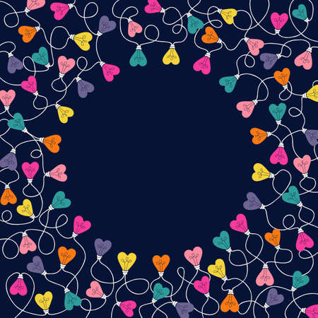 Multi-colored Valentines Day Holiday Intertwined Heart Shape String Lights on Dark Background Square Round Frame. Rainbow Festive Holiday Copy Space Banner for Greeting Cards and Web
