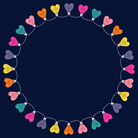 Bright Multi-colored Valentines Day Holiday Heart String Lights on Dark Background Round Frame. Circle Rainbow Festive Holiday Copy Space Banner for Greeting Cards and Web  イラスト・ベクター素材