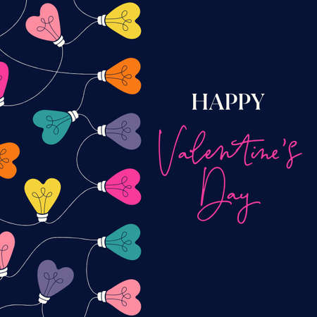 Multi-colored Happy Valentines Day Holiday Heart String Lights on Dark Background Square Gift Card. Square Rainbow Festive Holiday Copy Space Banner Web. Typography and Lettering  イラスト・ベクター素材