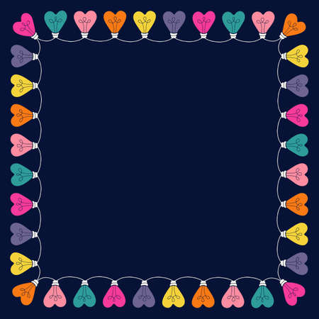 Bright Pink Colorful Valentines Day Holiday Heart String Lights on Dark Background Square Square Frame. Square Rainbow Festive Holiday Copy Space Banner for Greeting Cards and Web