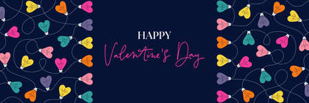 Multi-colored Happy Valentines Day Holiday Heart String Lights on Dark Background Horizontal Banner. Rectangle Rainbow Festive Holiday Copy Space Banner Web. Typography and Lettering