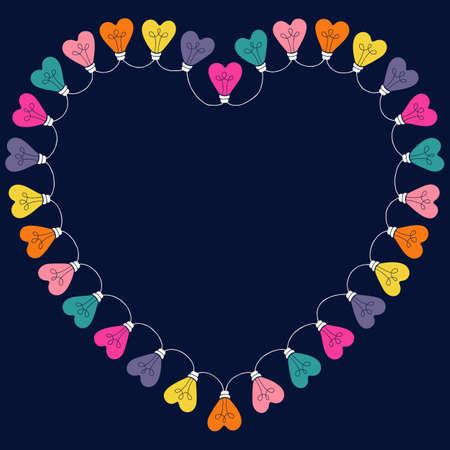 Bright Multi-colored Valentines Day Holiday Heart String Lights on Dark Background Heart-Shaped Frame. Square Rainbow Festive Holiday Copy Space Banner for Greeting Cards and Web 일러스트
