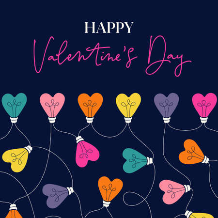 Multi-colored Happy Valentines Day Holiday Heart String Lights on Dark Background Square Gift Card. Square Rainbow Festive Holiday Copy Space Banner Web. Typography and Lettering 일러스트