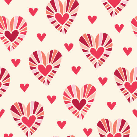 Valetnines Day Holiday Hand-Drawn Doodle Colorful Hearts on Cream Background Vector Seamless Pattern. Retro Bright Whimsical Feminine Print for Fashion, Packaging, Wrapping