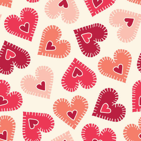Valetnines Day Holiday Hand-Drawn Craft Stitched Colorful Hearts on Cream Background Vector Seamless Pattern. Retro Bright Whimsical Feminine Print for Fashion, Packaging, Wrapping. Farmhouse Rustic