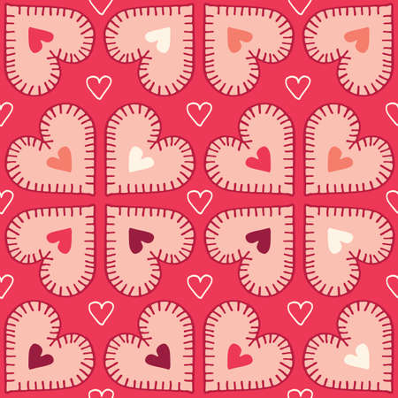 Valetnines Day Holiday Hand-Drawn Craft Stitched Colorful Hearts on Red Background Vector Seamless Pattern. Retro Bright Whimsical Feminine Print for Fashion, Packaging, Wrapping. Farmhouse Rustic