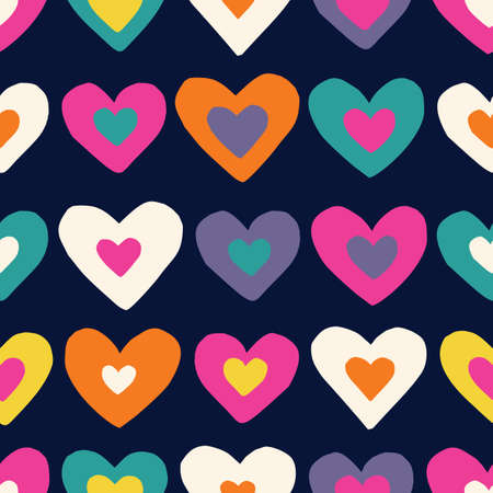 Retro Valentines Day Holiday Hand-Drawn Doodle Colorful Hearts on Dark Background Vector Seamless Pattern. Retro Seventies Bright Whimsical Feminine Print for Fashion, Packaging, Wrapping  イラスト・ベクター素材