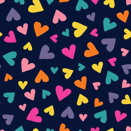 Valentines Day Holiday Simple Hand-Drawn Colorful Ditsy Hearts on Dark Background Vector Seamless Pattern. Retro Rainbow Whimsical Print for Fashion, Packaging, Wrapping Paper