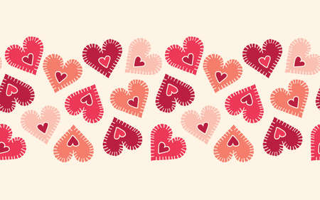 Valentines Day Holiday Hand-Drawn Craft Stitched Colorful Hearts on Cream Background Vector Seamless Pattern Border. Retro Bright Whimsical Feminine Print for Fashion, Packaging. Farmhouse Rustic  イラスト・ベクター素材