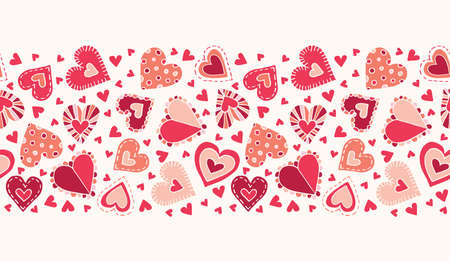 Valentines Day Holiday Hand-Drawn Craft Doodle Colorful Hearts on Cream Background Vector Seamless Pattern Border. Retro Bright Whimsical Feminine Print for Fashion, Packaging. Farmhouse Rustic  イラスト・ベクター素材