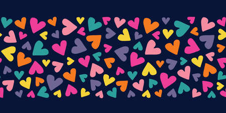 Valentines Day Holiday Simple Hand-Drawn Colorful Ditsy Hearts on Dark Background Vector Seamless Pattern Border. Retro Rainbow Whimsical Print for Fashion, Packaging, Wrapping Paper