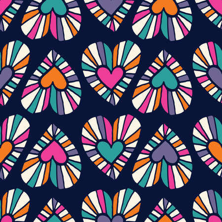 Valentines Day Holiday Hand-Drawn Doodle Psychedelic Colorful Hearts on Dark Background Vector Seamless Pattern. Retro Bright Whimsical Feminine Print for Fashion, Packaging, Wrapping