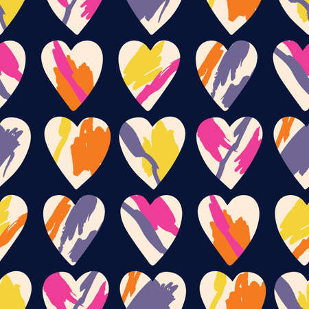 Valentines Day Holiday Hand-Drawn Trendy Vector Seamless Pattern. Pink and Red Brushstrokes Abstract Hearts on Cream Background. Elegant Modern Colorful Print for Fashion, Packaging, Wrapping
