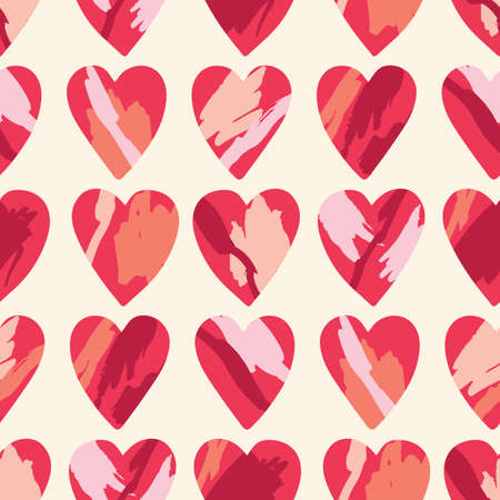 Valentines Day Holiday Hand-Drawn Trendy Vector Seamless Pattern. Pink and Red Brushstrokes Abstract Hearts on Cream Background. Elegant Whimsical Feminine Print for Fashion, Packaging, Wrapping  イラスト・ベクター素材