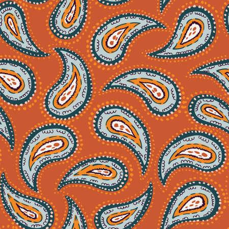 Hand-Drawn Artistic Colorful Paisley Vector Seamless Pattern. Boho Traditional Ethnic Fashion Shawl Print. Line Painterly Doodle Folk Foulard Texture Background