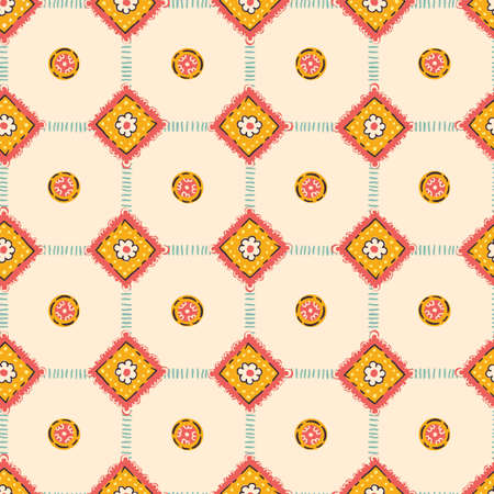 Hand-Drawn Artistic Boho Diamonds and Plaid Pattern Vector Seamless Pattern. Traditional Craft Ethnic Fashion Print. Doodle Folk Stitches Texture Background