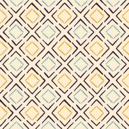 Hand-Drawn Artistic Boho Diamonds Pattern Vector Seamless Pattern. Traditional Craft Ethnic Fashion Print. Doodle Folk Stitches Texture Background