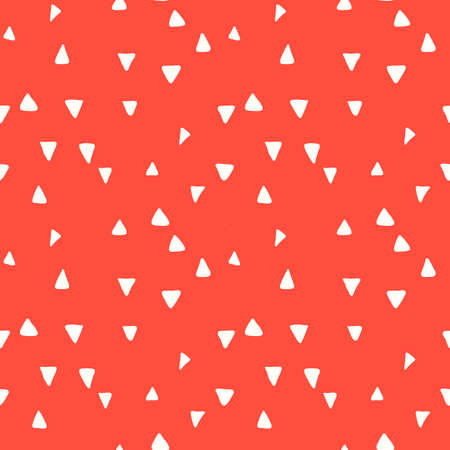 Playful Doodle Red and White Geometric Vector Seamless Pattern with Hand-Drawn Brush Triangles. Brush Marker Doodle Zig-Zag Triangles. Abstract Organic Geo Print Perfect for Fashion, Textiles, Scrapbooking