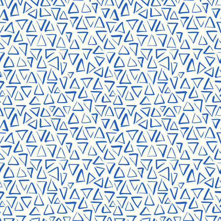 Playful Doodle Blue and White Geometric Vector Seamless Pattern with Hand-Drawn Brush Triangles. Brush Marker Doodle Zig-Zag Triangles. Abstract Organic Geo Print Perfect for Fashion, Textiles, Scrapbooking