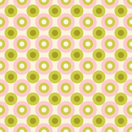 Pastel Colored Small Scale Optical Geo Circles Vector Seamless Pattern. Retro 70s Style Nostalgic Fashion Textile Background. Summer Resort Print. Micro Geometric Texture