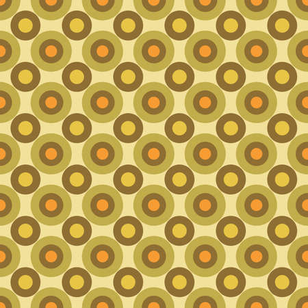 Warm Hues Colored Small Scale Optical Geo Circles Vector Seamless Pattern. Retro 70s Style Nostalgic Fashion Textile Background. Summer Resort Print. Micro Geometric Texture