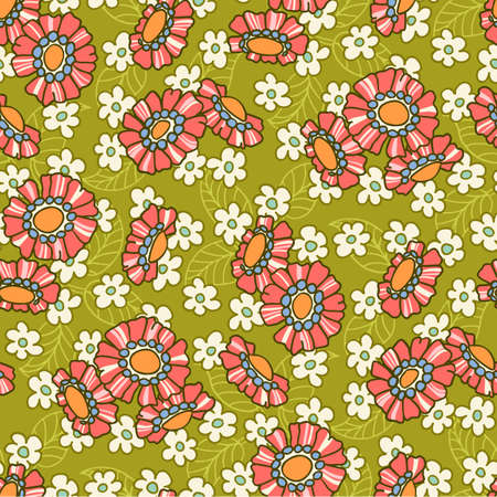 Colorful Mid Scale Hand-Drawn Floral Vector Seamless Pattern. Retro 70s Style Nostalgic Fashion Textile Bold Background. Summer Resort Print. Ditsy Daisies. Flower Power