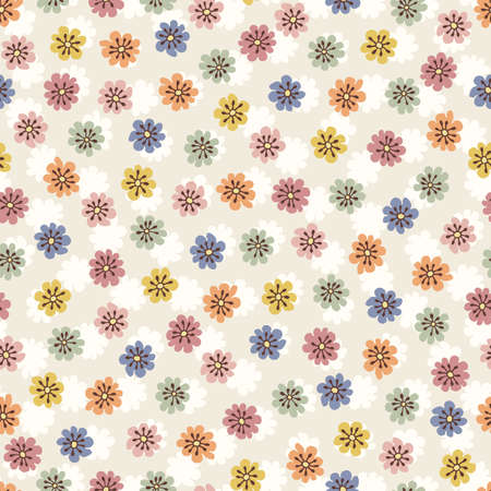 Pastel-Colored Small Scale Hand-Drawn Floral Vector Seamless Pattern. Retro 70s Style Nostalgic Fashion Textile Bold Background. Summer Resort Print. Ditsy Daisies. Flower Power