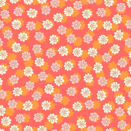 Colorful Small Scale Hand-Drawn Floral Vector Seamless Pattern. Retro 70s Style Nostalgic Fashion Textile Bold Background. Summer Resort Print. Ditsy Daisies. Flower Power  イラスト・ベクター素材