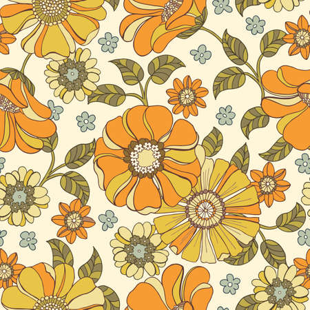 Colorful Large Scale Hand-Drawn Floral Vector Seamless Pattern. Retro 70s Style Nostalgic Fashion Textile Bold Background. Summer Resort Print. Daisies. Flower Power Vettoriali