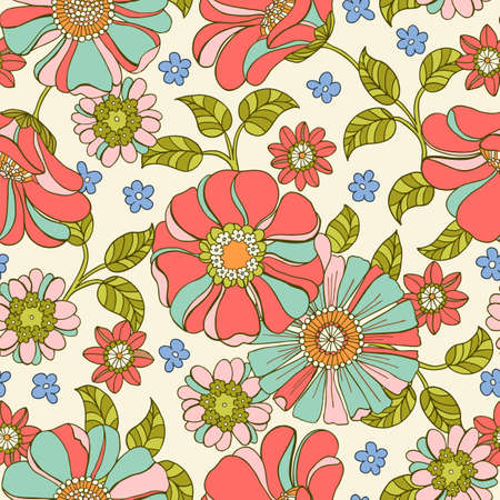 Colorful Large Scale Hand-Drawn Floral Vector Seamless Pattern. Retro 70s Style Nostalgic Fashion Textile Bold Background. Summer Resort Print. Daisies. Flower Power  イラスト・ベクター素材