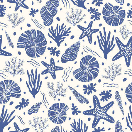 Hand-Drawn Sea Shells, Fossils, Starfish, Corals, Seaweeds, Waves Abstract Vector Seamless Pattern. Summer Beach Seaside Print. Ocean Fashion Textile Blue, White Background. Seashore Elements Texture