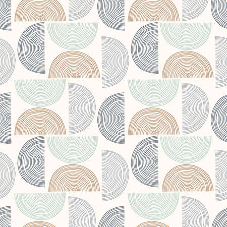 Hand-Drawn Abstract Geometrics Ocean Waves Vector Seamless Pattern. Summer Beach Seaside Print. Ocean Fashion Textile Blue, White and Brown Background. Seashore Elements Texture for Fabrics, Wallpaper  イラスト・ベクター素材