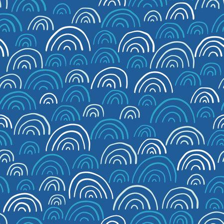 Hand-Drawn Abstract Geometrics Ocean Waves Vector Seamless Pattern. Summer Beach Seaside Print. Ocean Fashion Textile Monochrome Blue,White Background. Seashore Elements Texture for Fabrics, Wallpaper