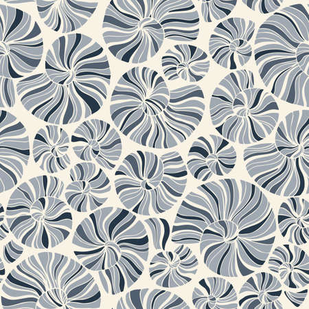 Hand-Drawn Doodle Sea Shells and Fossils Vector Seamless Pattern. Summer Beach Seaside Print. Ocean Fashion Textile Monochrome Blue,White Background. Seashore Elements Texture for Fabrics, Wallpaper