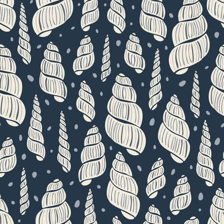 Hand-Drawn Doodle Sea Shells, Fossils and Pebbles Vector Seamless Pattern. Summer Beach Seaside Print. Ocean Fashion Textile Red and White Background. Seashore Elements Texture for Fabrics, Wallpapers