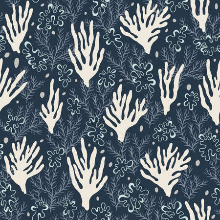 Hand-Drawn Doodle Sea Corals, Pebbles and Seaweed Vector Seamless Pattern. Summer Beach Seaside Print. Ocean Fashion Textile Blue and White Background. Seashore Elements Texture for Fabrics, Wallpapers  イラスト・ベクター素材