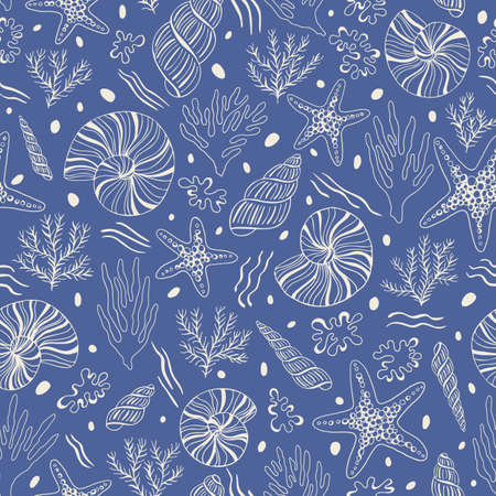 Hand-Drawn Sea Shells, Fossils, Starfish, Corals, Seaweeds, Waves Outline Vector Seamless Pattern. Summer Beach Seaside Print. Ocean Fashion Textile Blue, White Background. Seashore Elements Texture