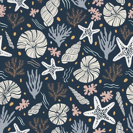 Hand-Drawn Sea Shells, Fossils, Starfish, Corals, Seaweeds, Waves Abstract Vector Seamless Pattern. Summer Beach Seaside Print. Ocean Fashion Textile Blue, Aqua Background. Seashore Elements Texture