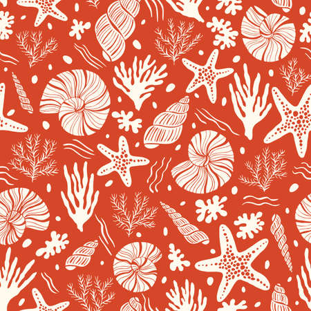 Hand-Drawn Sea Shells, Fossils, Starfish, Corals, Seaweeds, Waves Abstract Vector Seamless Pattern. Summer Beach Seaside Print. Ocean Fashion Textile Red, White Background. Seashore Elements Texture