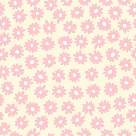 Vintage graphic abstract daisies floral vector seamless pattern. Simple hand drawn pink blooms on cream background. Retro minimal stylized flowers print for home decor, kids, fashion
