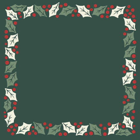 Winter Holidays Holly Foliage and Berries Vector SquareFrame. Modern Christmas Background. Colorful Minimal Hand-Drawn Print.  イラスト・ベクター素材