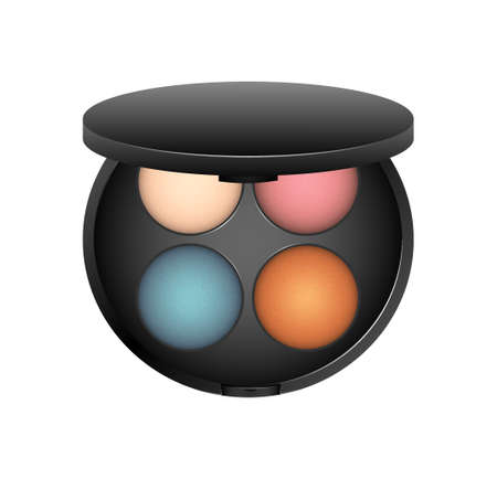 Vector palette of a shadow in a black plastic container on a white background